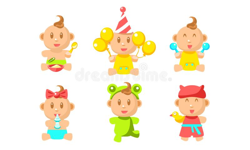 Cute Little Baby Character Set, Adorable Inant Boy or Girl Daily Routine Vector Illustration stock illustration