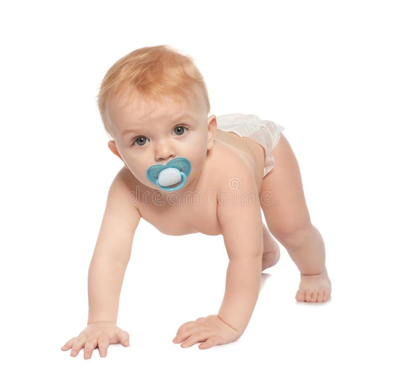 Cute little baby crawling on white royalty free stock photo