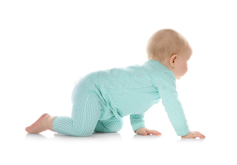Cute little baby crawling on white stock image