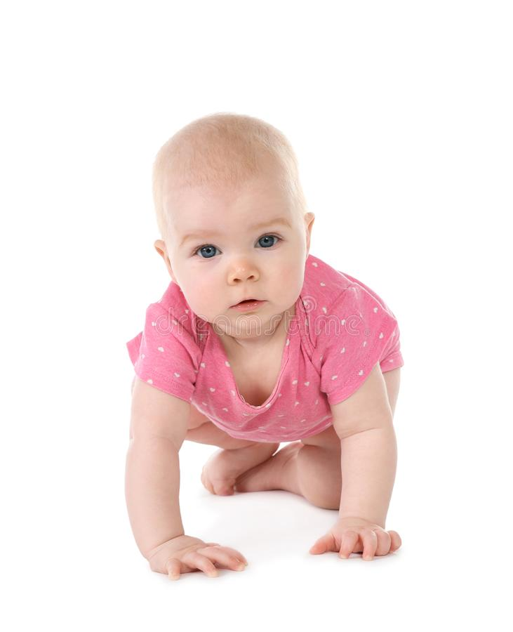 Cute little baby crawling stock photo