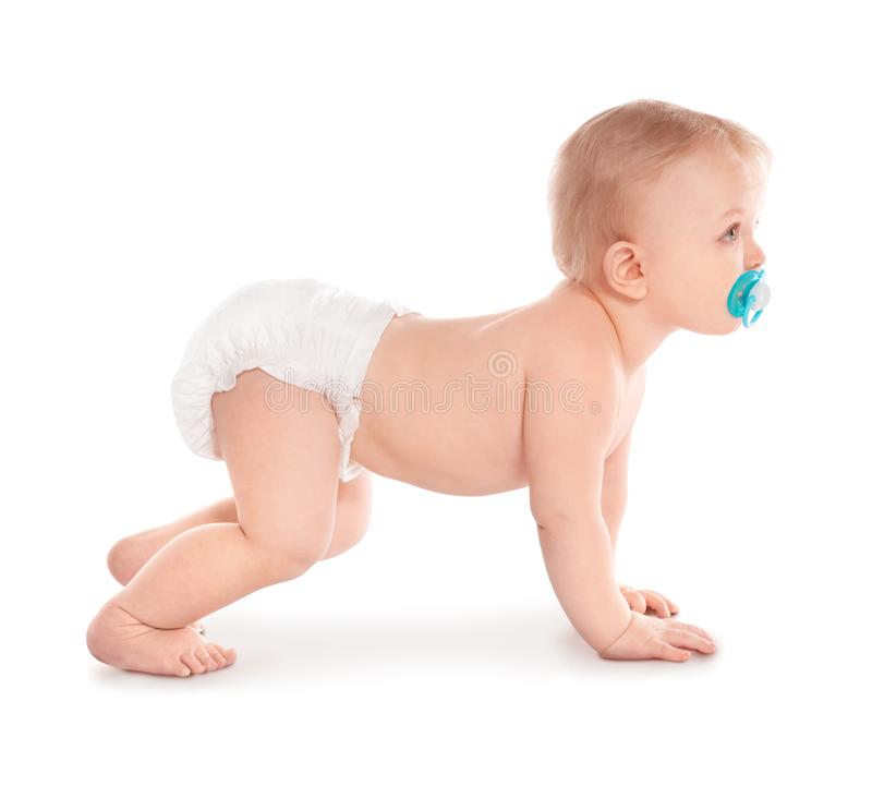 Cute little baby crawling on white royalty free stock images