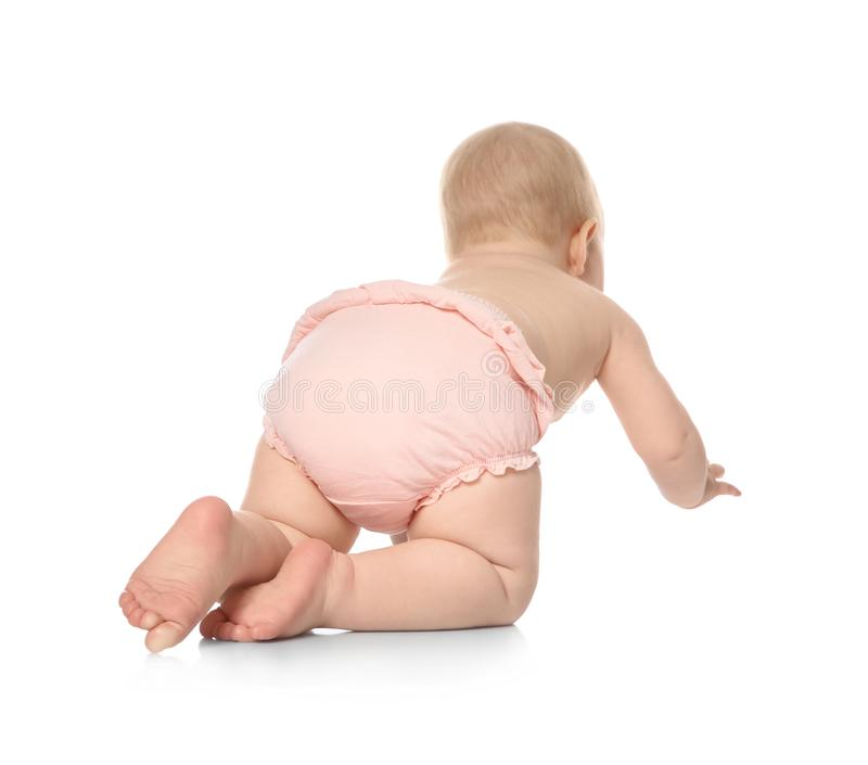 Cute little baby crawling on white royalty free stock photography