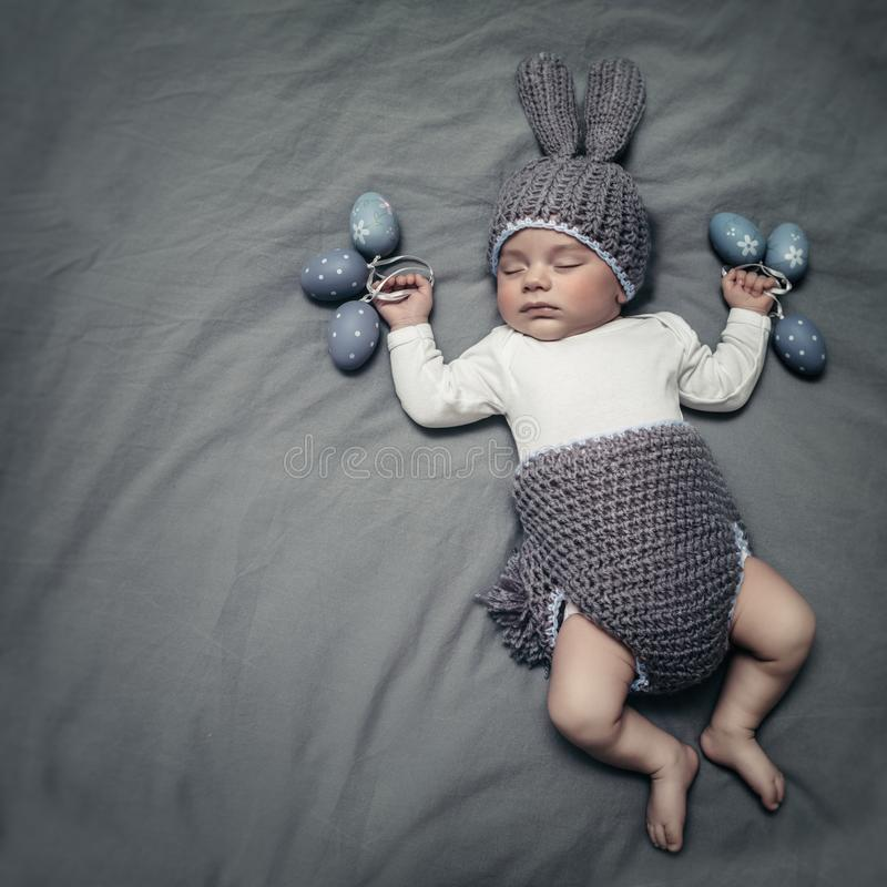 Cute little baby dressed like an Easter bunny stock images