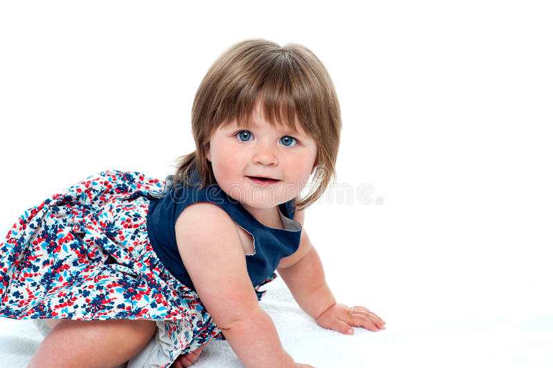 Download Cute Little Baby Girl Crawling Stock Image - Image: 27260895