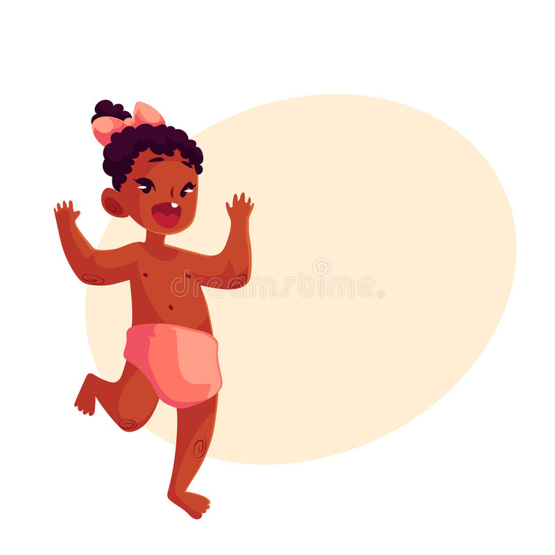 Cute Little Baby Girl Dancing Happily Stock Vector - Image ...