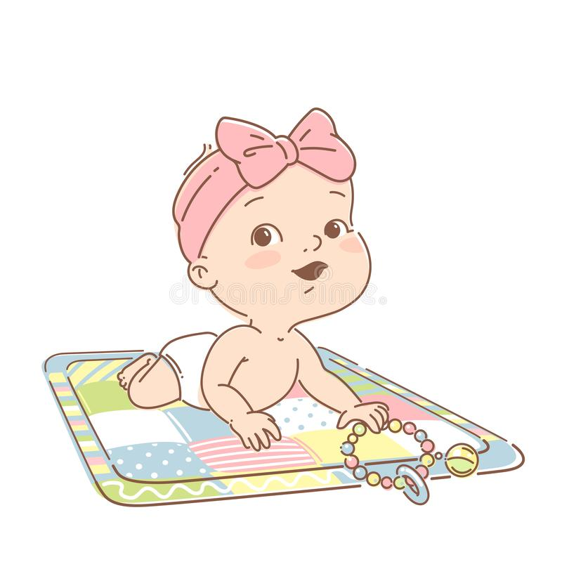 Cute little baby girl of 3-12 months, in diaper play on development mat with toys. Cute smiling toddler play toys, learn colors. Happy kid. Tummy time. First vector illustration