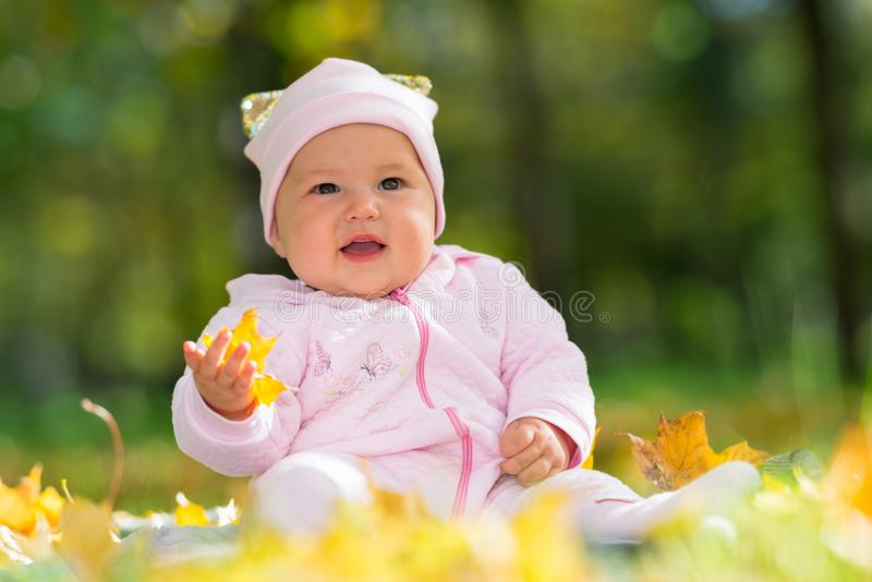 Cute little baby girl in pink in an autumn park. stock image