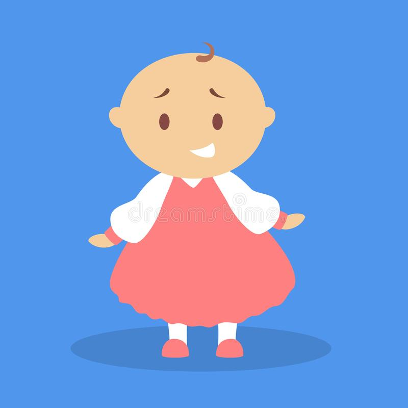 Cute little baby girl standing. Toddler in red dress. Happy child. Adorabe infant. Flat vector illustration vector illustration