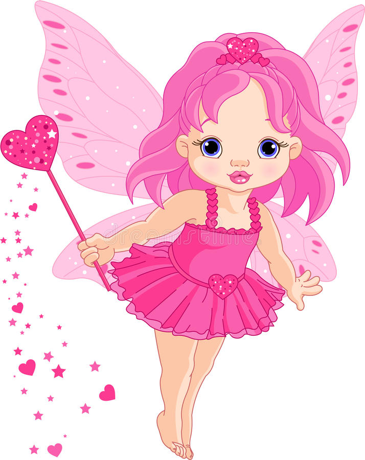Cute little baby Love fairy. Illustration of Cute little Love baby fairy in fly royalty free illustration