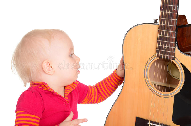 Download Cute Little Musician Playing Guitar Isolated On White Background Stock Image - Image: 29798803