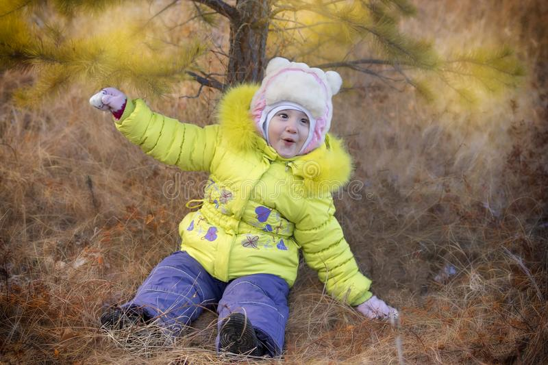 Cute little baby sitting on the ground with autumn in the park, little cheerful child in the autumn garden stock photography