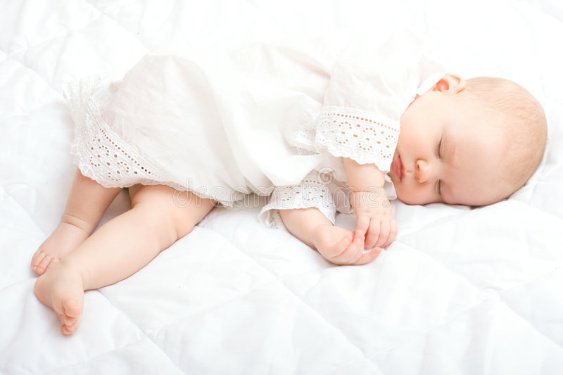 Cute little baby sleeping royalty free stock image