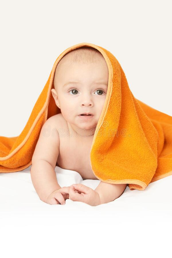 Free Cute Little Baby. Under Bath Towel. Happy Kid Portrait. White Background Stock Images - 192144664