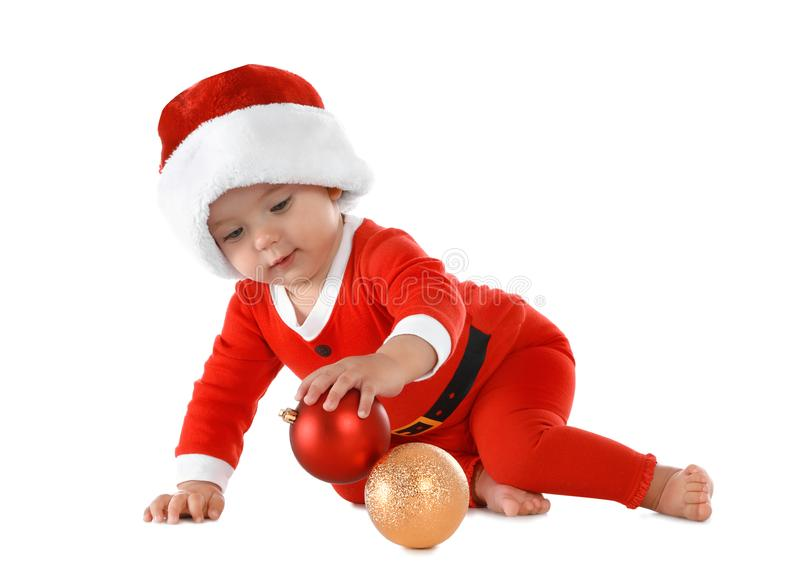 Cute little baby wearing festive Christmas costume on white royalty free stock photography