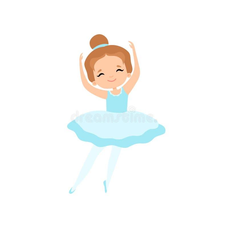 Cute Little Ballerina Dancing, Girl Ballet Dancer Character in Light Blue Tutu Dress Vector Illustration. On White Background royalty free illustration