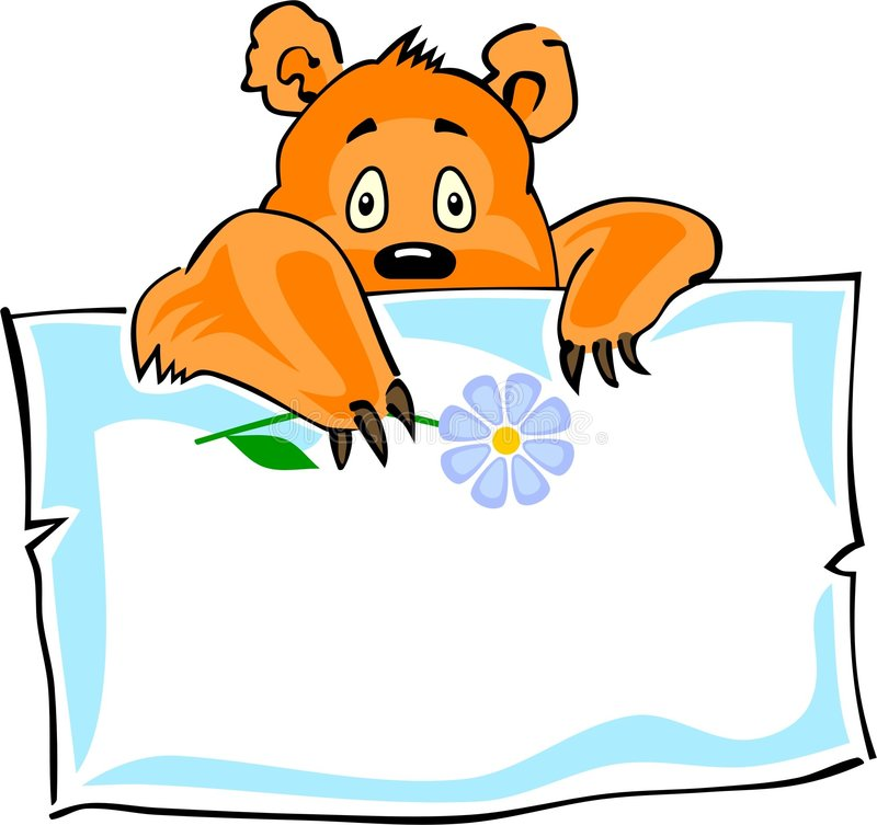 Cute little bear and a paper sticker royalty free illustration