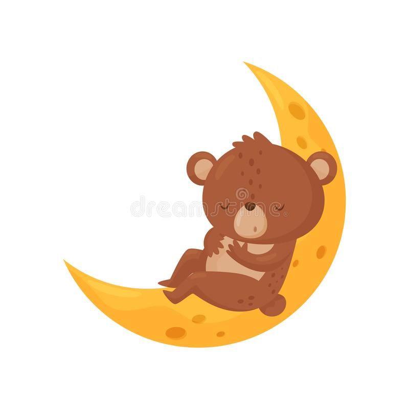 Cute little bear sleeping on the moon, lovely animal cartoon character, good night design element, sweet dreams vector royalty free illustration