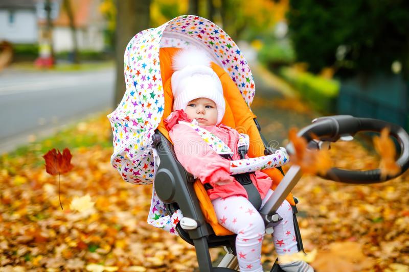 Cute little beautiful baby girl sitting in the pram or stroller on autumn day. Happy healthy child going for a walk on stock image