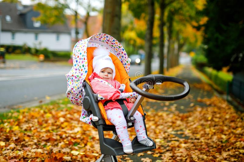 Cute little beautiful baby girl sitting in the pram or stroller on autumn day. Happy healthy child going for a walk on stock images