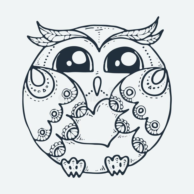 Cute Little Bird Cartoon Hand Drawn Vector Illustration Cute For Baby Coloring Pages T Shirt Print Fashion Prints And Other Stock Vector Illustration Of Owlet Drawn 147971798
