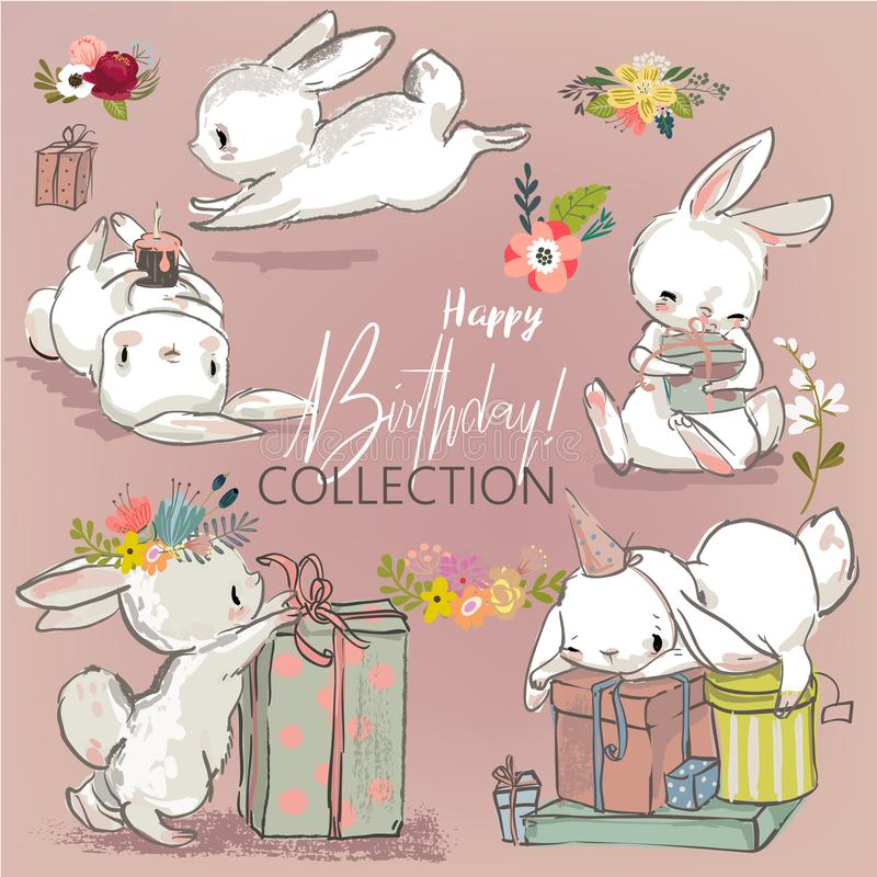 Cute birthday hares collection vector illustration