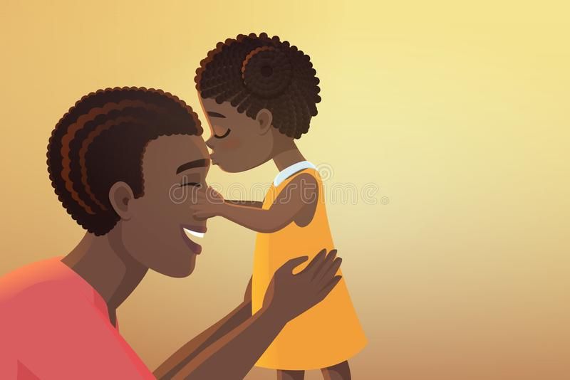 Cute little black african american daughter girl kid kisses her happy father dad cartoon vector illustration. stock illustration