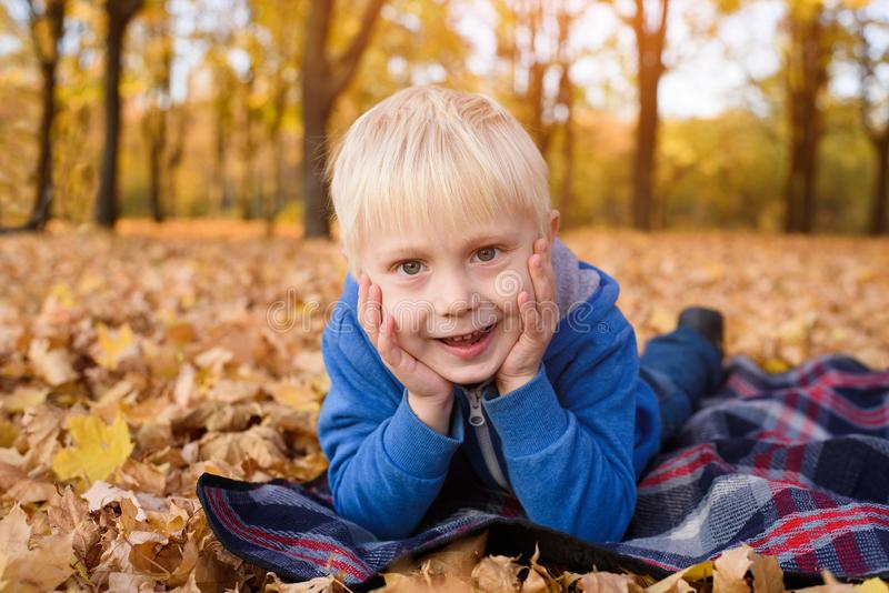 Cute little blond boy lies on a plaid, yellow autumn leaves. Smiling and having fun. Fall day stock photo