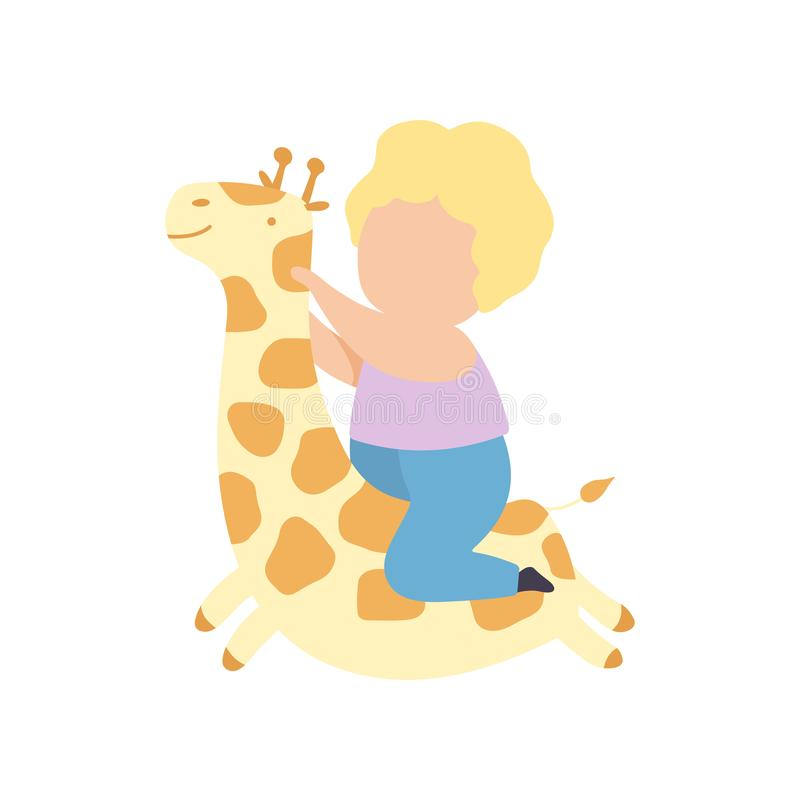 Cute Little Blond Boy Riding Toy Giraffe Vector Illustration. On White Background royalty free illustration