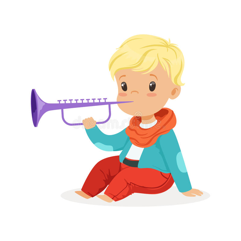 Cute little blonde boy playing clarinet, young musician with toy musical instrument, musical education for kids cartoon royalty free illustration