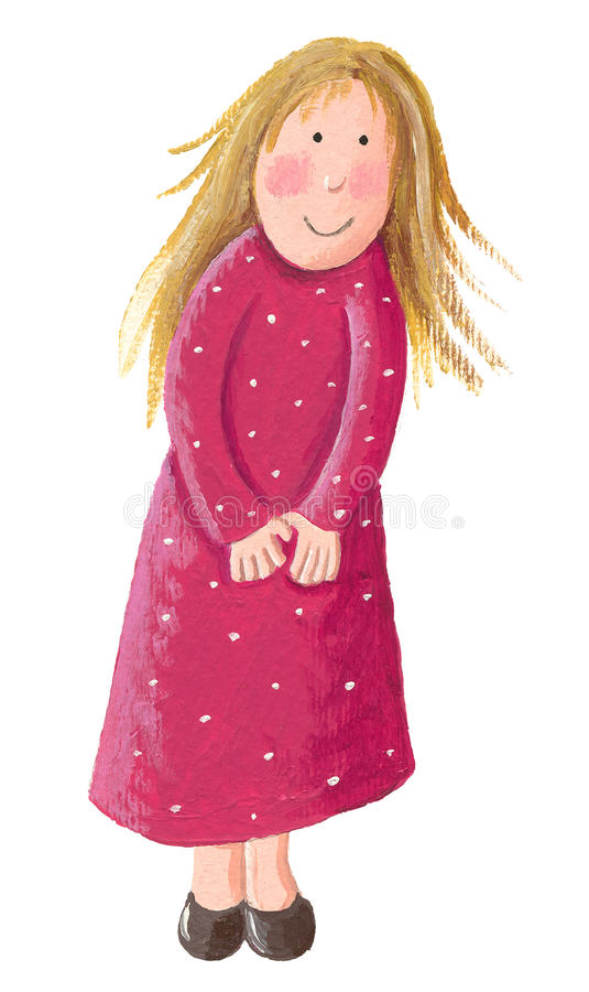 Cute little blonde girl vector illustration