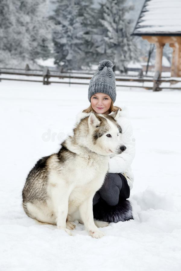 Cute little blonde girl playing in the snow with a dog Husky stock images