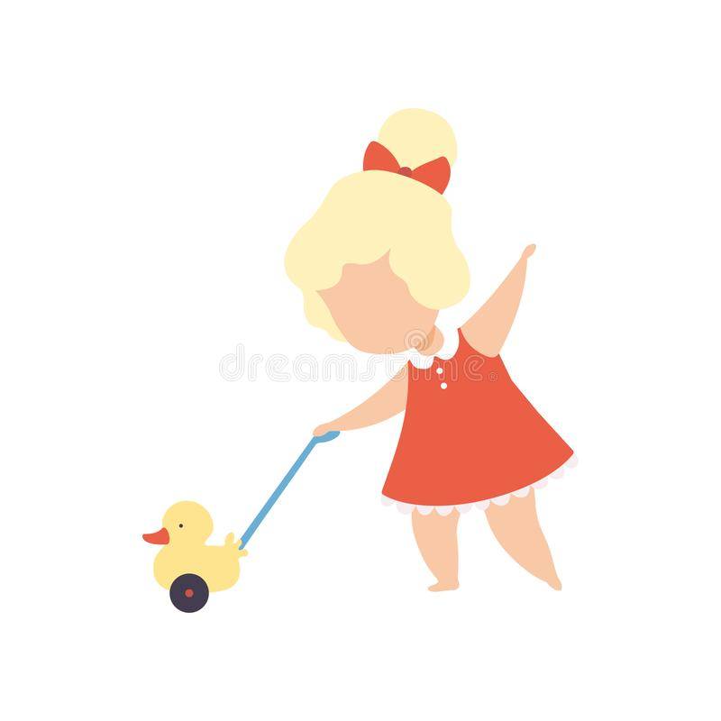 Adorable Little Girl Playing With Beach Toys During: Duck Playing Trumpet Stock Illustration. Illustration Of