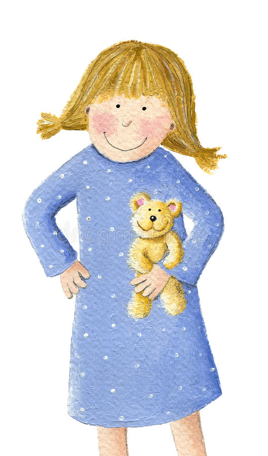 Cute little blonde girl with teddy royalty free illustration