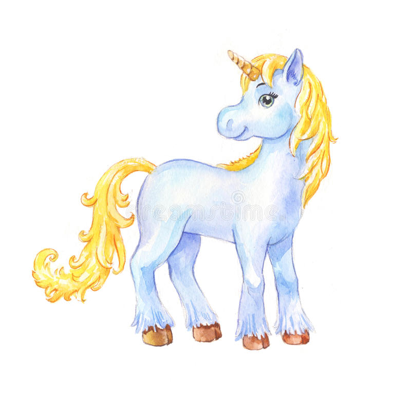 Cute little blue unicorn watercolor vector illustration