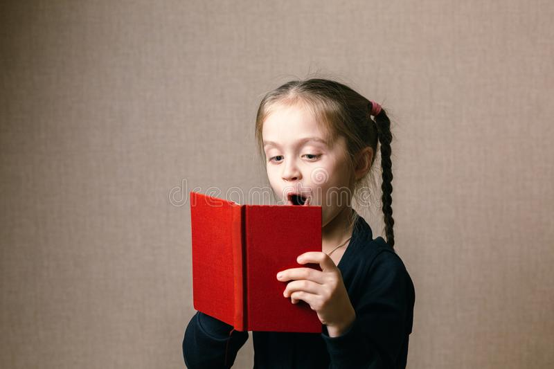 Cute little with book stock images