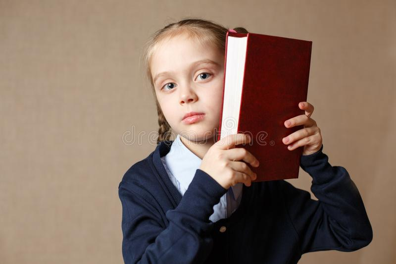 Cute little with book royalty free stock photo