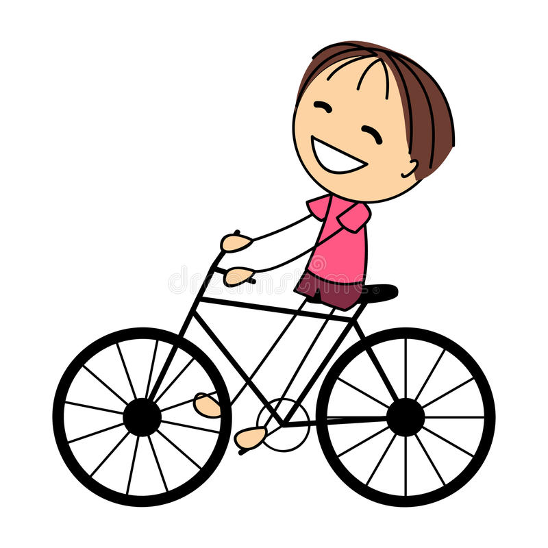 Cute little boy on bicycle royalty free illustration