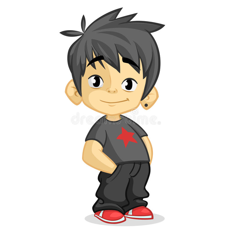 Cute little boy with black hair dressed in black standing and smiling. Vector cartoon kid character with hands in pockets royalty free stock photography