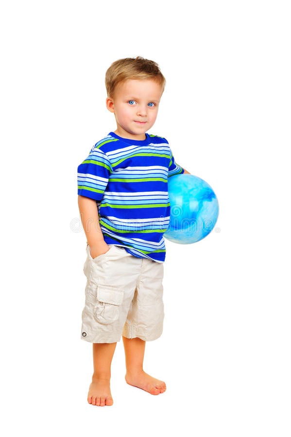Download Cute Little Boy With Blue Ball Royalty Free Stock Photo - Image: 18586935