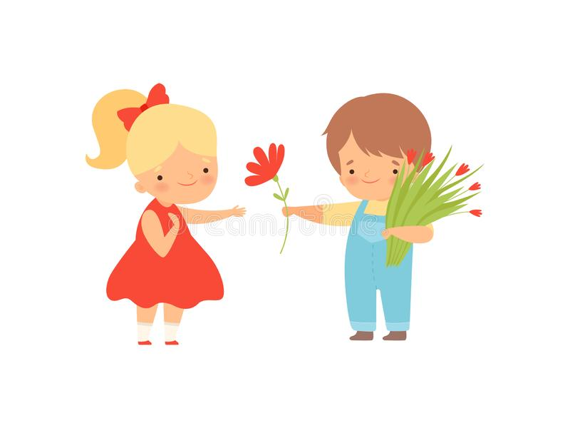 Cute Little Boy with Bouquet of Flowers Giving Red Flower to Lovely Blonde Girl in Red Dress Cartoon Vector Illustration. On White Background vector illustration