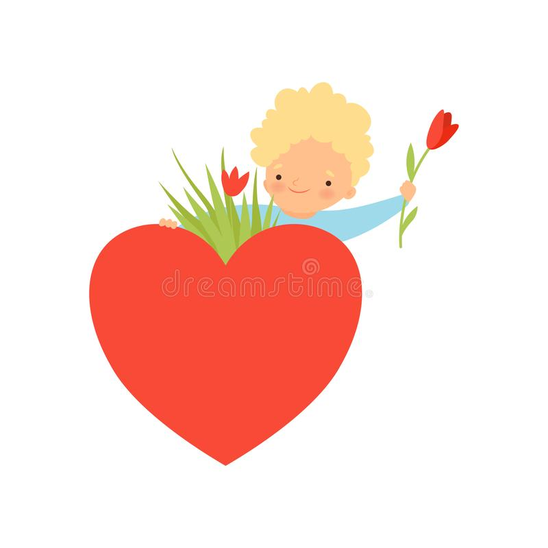 Cute Little Boy with Bouquet of Flowers and Red Heart Cartoon Vector Illustration. On White Background stock illustration