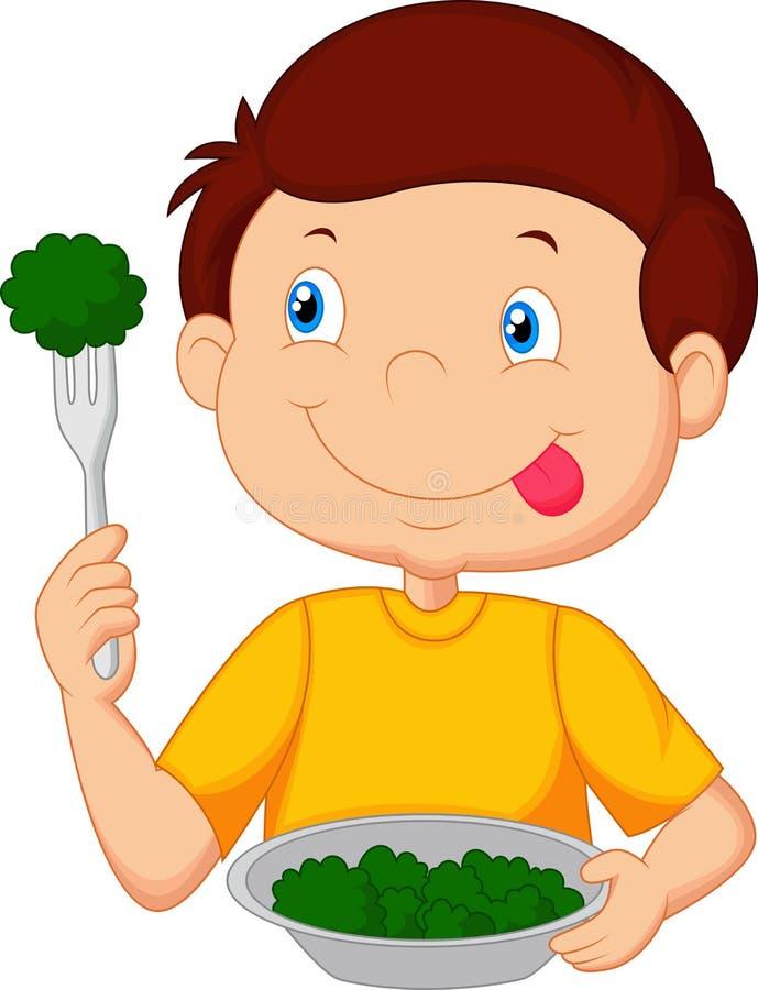 Cute little boy cartoon eats vegetable using fork stock illustration