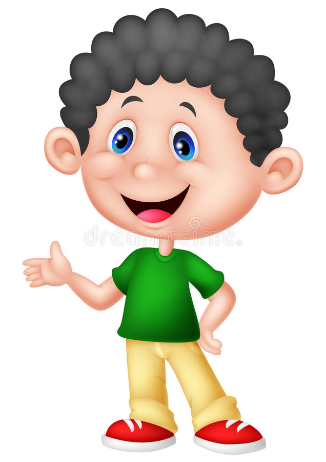 Cute little boy cartoon stock illustration
