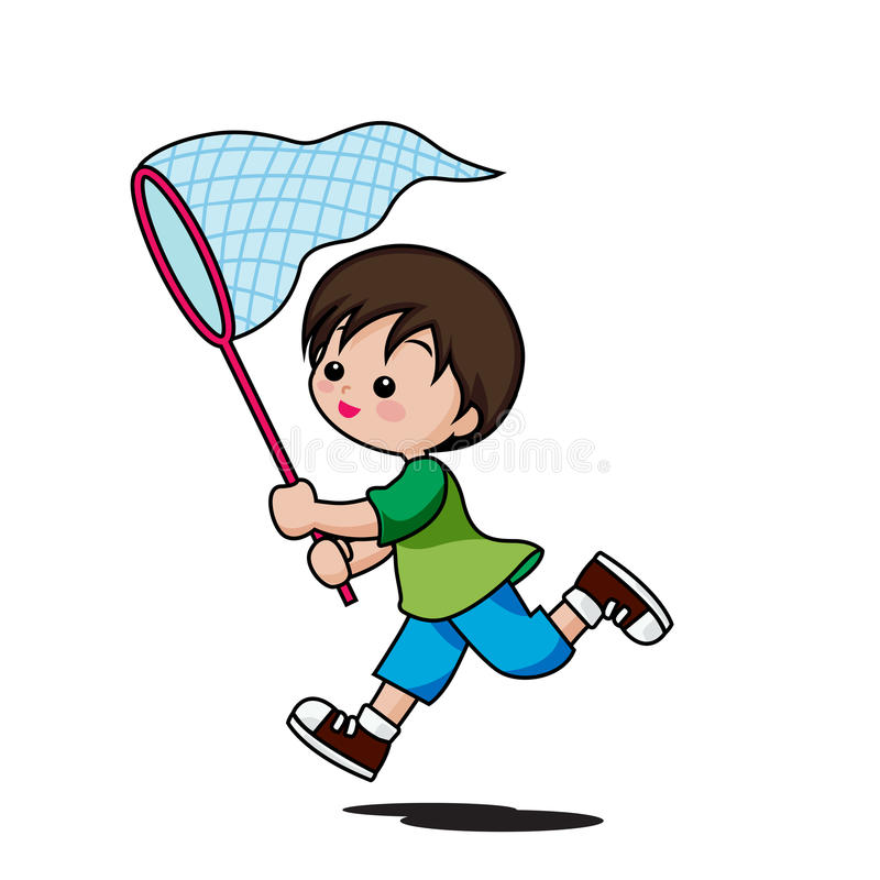 Cute little boy cartoon running to catch insects isolated on white background vector illustration