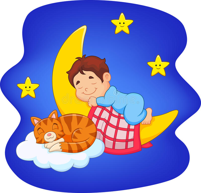 Cute little boy with cat sleeping on the moon stock illustration