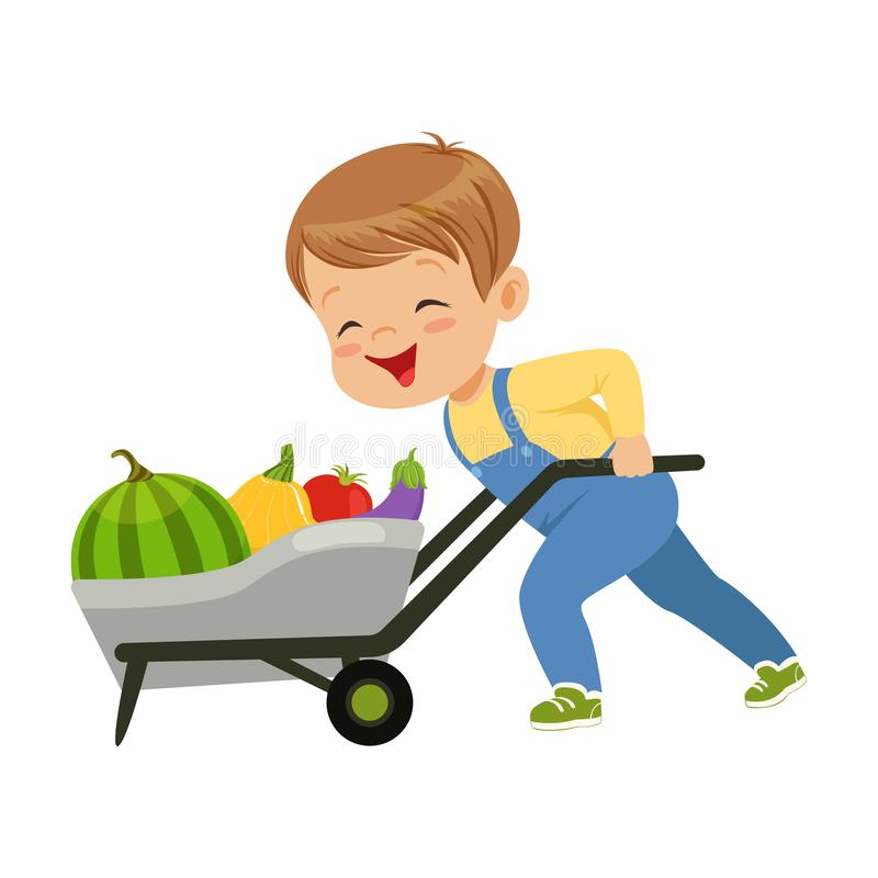 Cute little boy character pushing wheelbarrow full of vegetables vector Illustration on a white background. Cute little boy character pushing wheelbarrow full of stock illustration