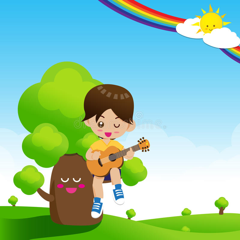Cute Little boy child playing a music guitar on tree vector illustration
