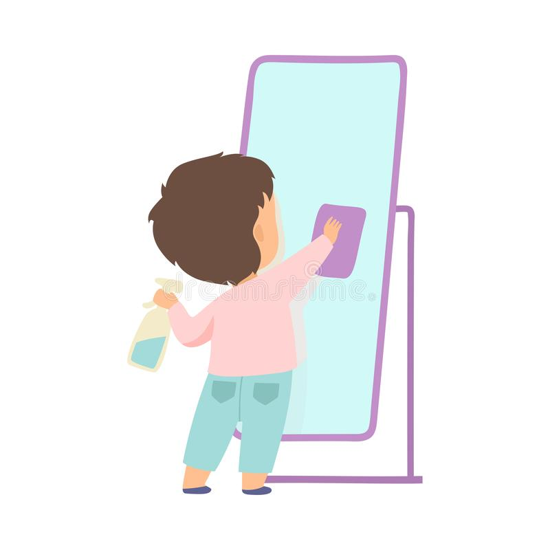 Cute Little Boy Cleaning Mirror By Rag, Adorable Kid Doing Housework Chores at Home Vector Illustration. On White Background vector illustration