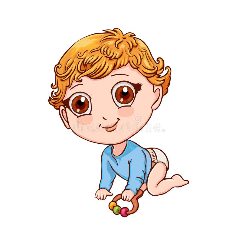 Cute little boy crawls and plays with a rattle. Vector illustration isolated on white. Little child with rattle crawls on all fours. Cute vector illustration royalty free illustration