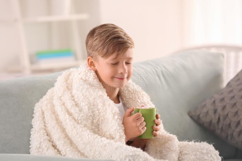 Cute little boy with cup of hot cocoa drink at home royalty free stock photo
